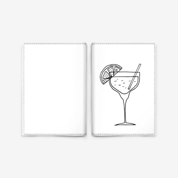 Обложка для паспорта «летний коктейль. напиток в бокале. бар»