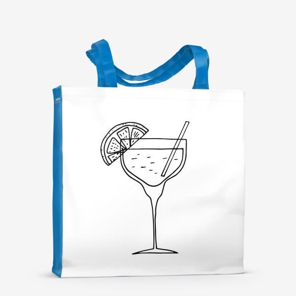 Сумка-шоппер «летний коктейль. напиток в бокале. бар»