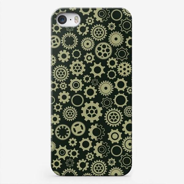 Чехол iPhone «Золотые шестеренки на темном фоне»