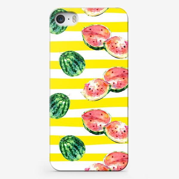 Чехол iPhone «Арбуз на полосатом фоне»