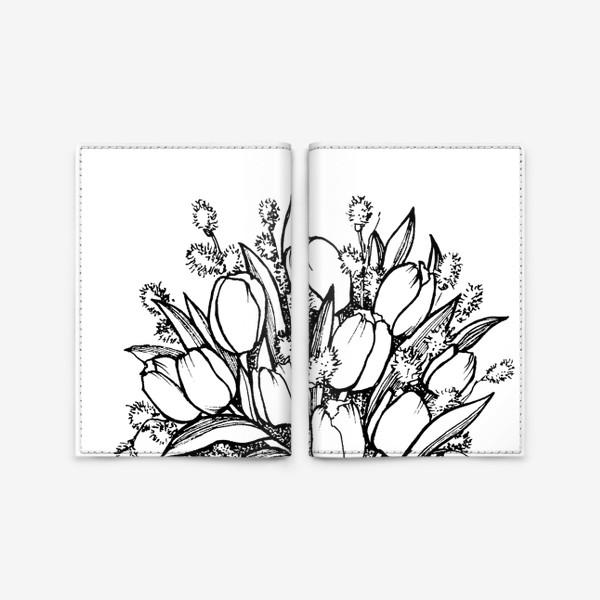 Обложка для паспорта «Букет с тюльпанами. Графика»