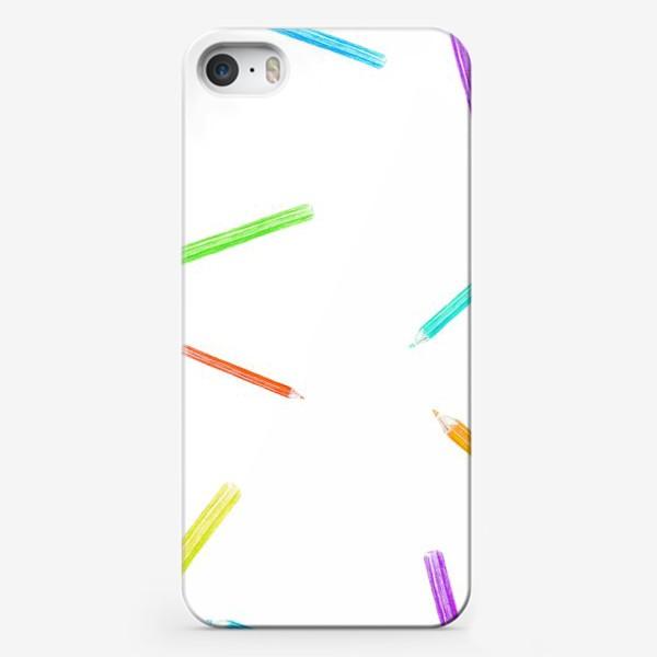 Чехол iPhone «Паттерн цветные карандаши»