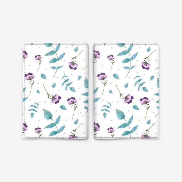 Обложка для паспорта «Орнамент из голубых и фиолетовых цветов»