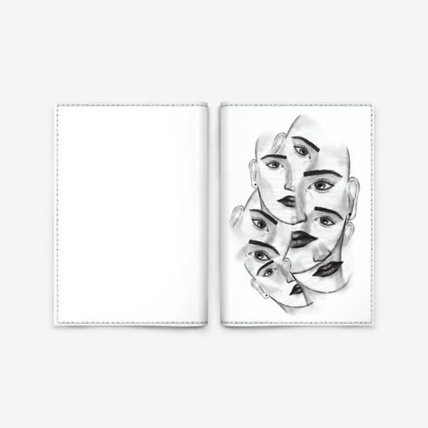 Обложка для паспорта «Авангард. Девушка. Лица. Абстракция. Черно-белая фантазия»