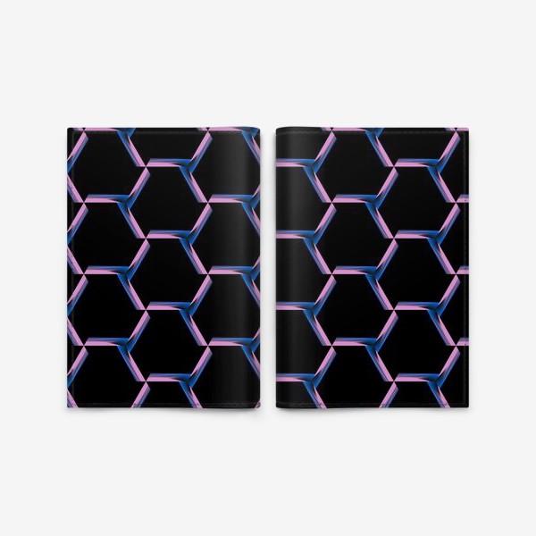 Обложка для паспорта «неоновая сетка на черном фоне новая»