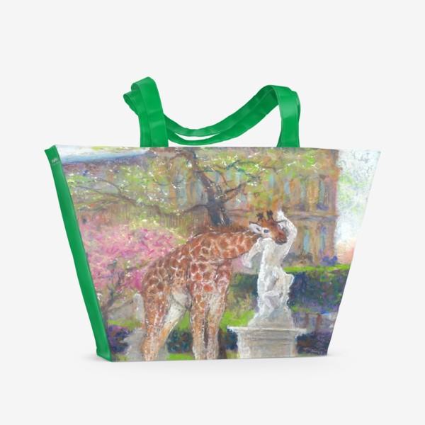 Пляжная сумка «Париж, сад  Тюильри, жирафы»