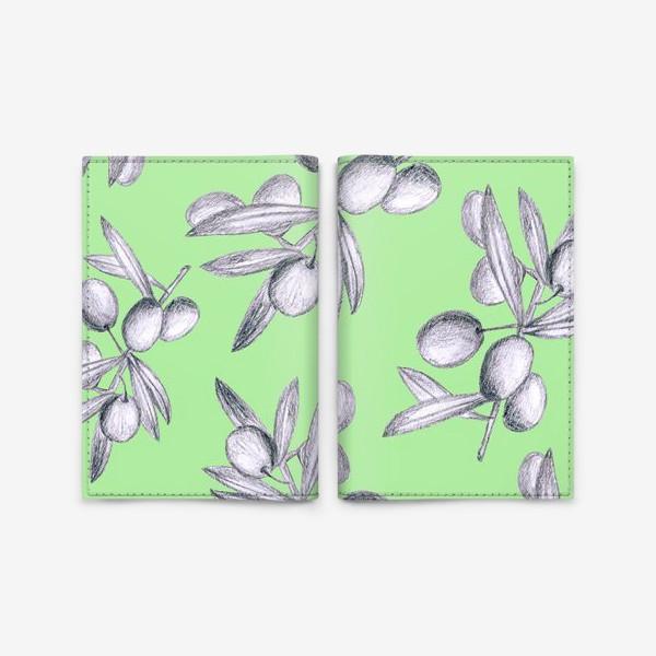 Обложка для паспорта «оливки на мятном фоне»