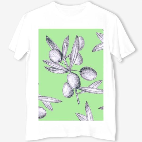 Футболка «оливки на мятном фоне»