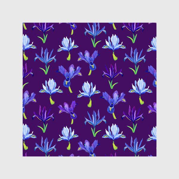 Шторы «Ирисы, паттерн на фиолетовом фоне»