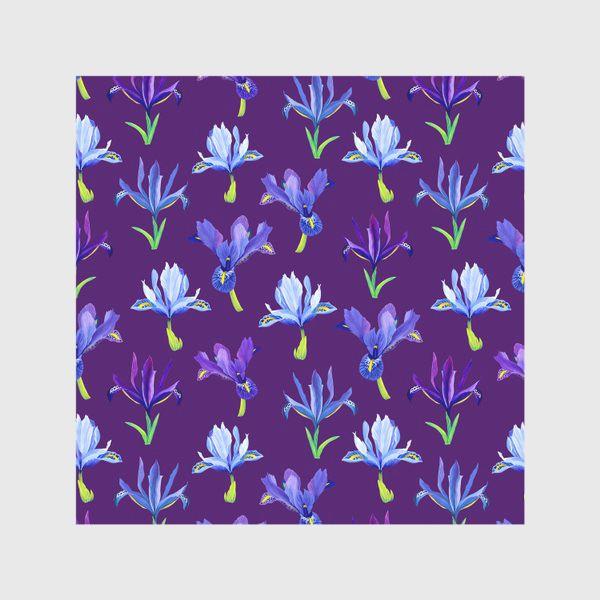 Скатерть «Ирисы, паттерн на фиолетовом фоне»