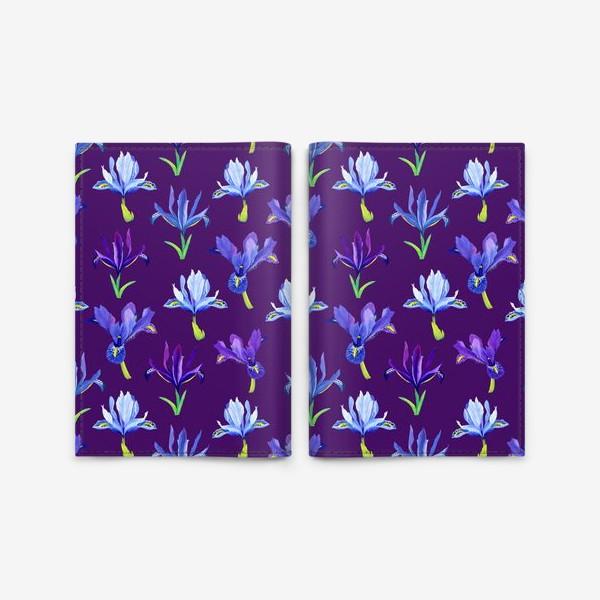 Обложка для паспорта «Ирисы, паттерн на фиолетовом фоне»