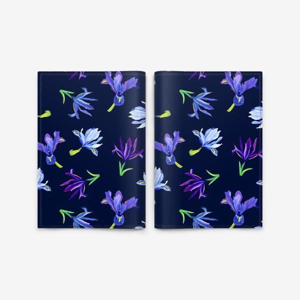 Обложка для паспорта «Цветы ирисы паттерн»