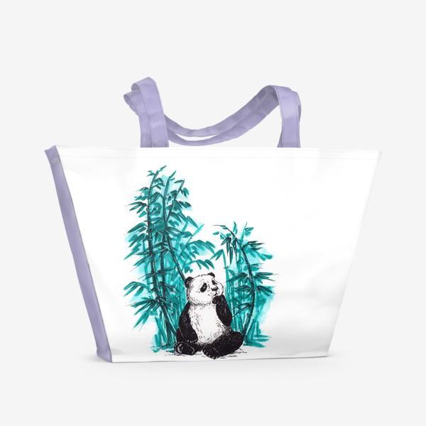 Пляжная сумка «Панда и бамбук»