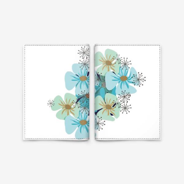 Обложка для паспорта «Маки голубые »