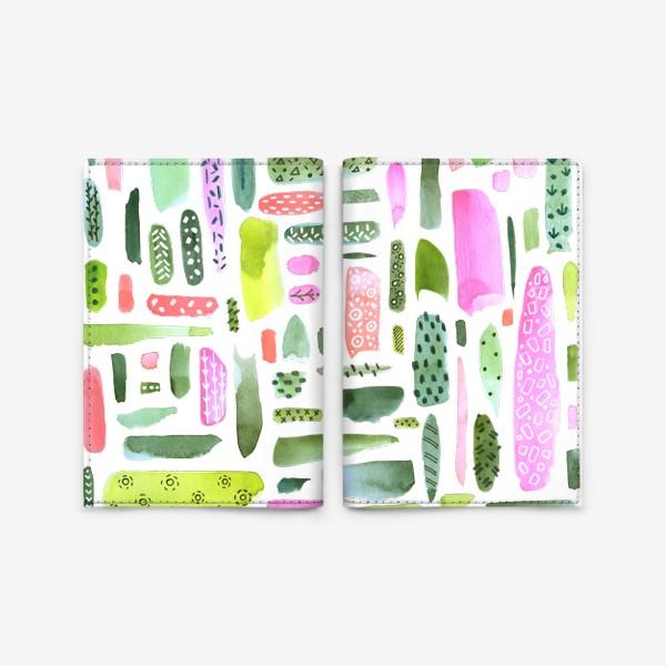 Обложка для паспорта «Акварельный абстрактный принт. Зелено-розовая гамма»