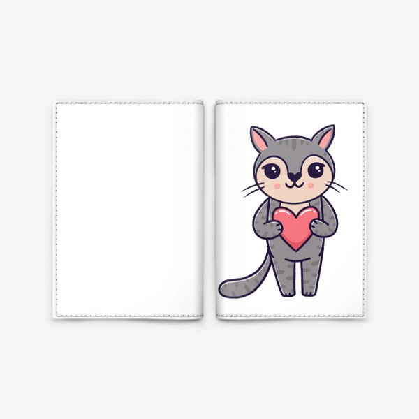 Обложка для паспорта «Милый серый котик с сердечком. Любовь»