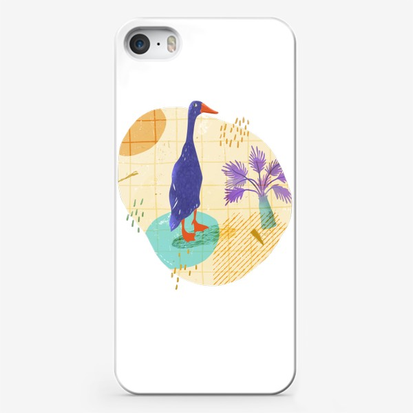 Чехол iPhone «Гусь на абстрактном летнем фоне.»