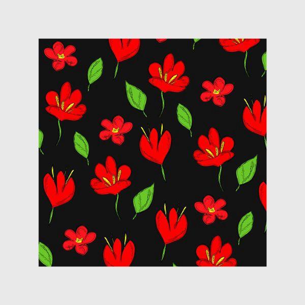 Шторы «красные цветы»