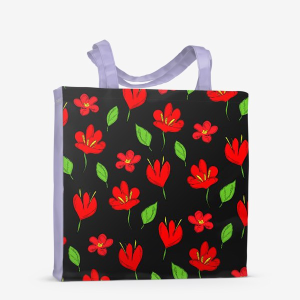 Сумка-шоппер «красные цветы»