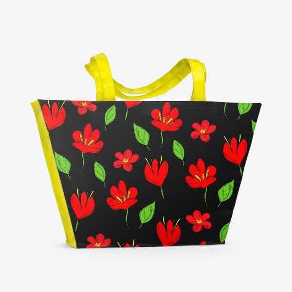 Пляжная сумка «красные цветы»