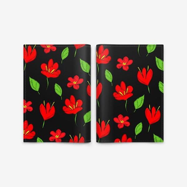 Обложка для паспорта «красные цветы»