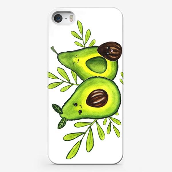 """Чехол iPhone «Милые акварельные авокадо """"Давайте смеяться!""""»"""