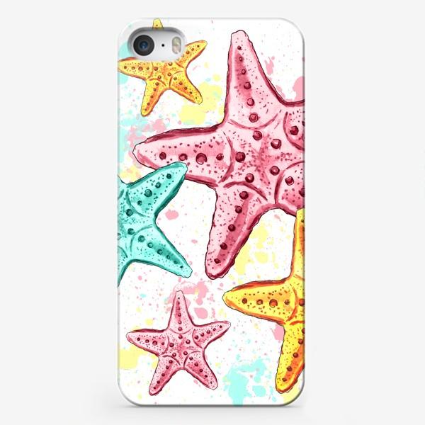 Чехол iPhone «Акварельные морские звёзды. Лето»