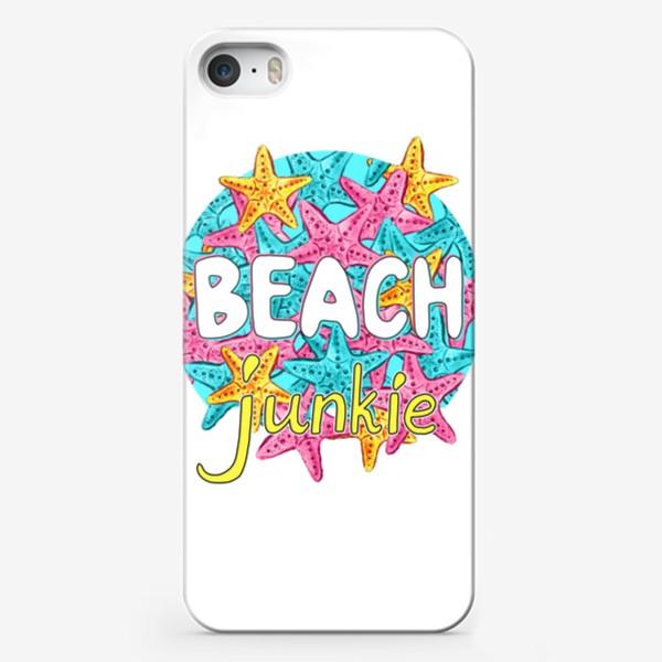 """Чехол iPhone «Акварельные морские звёзды """"Пляжный наркоман""""»"""