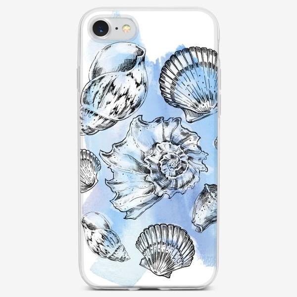 Чехол iPhone «Ракушки на голубом фоне»