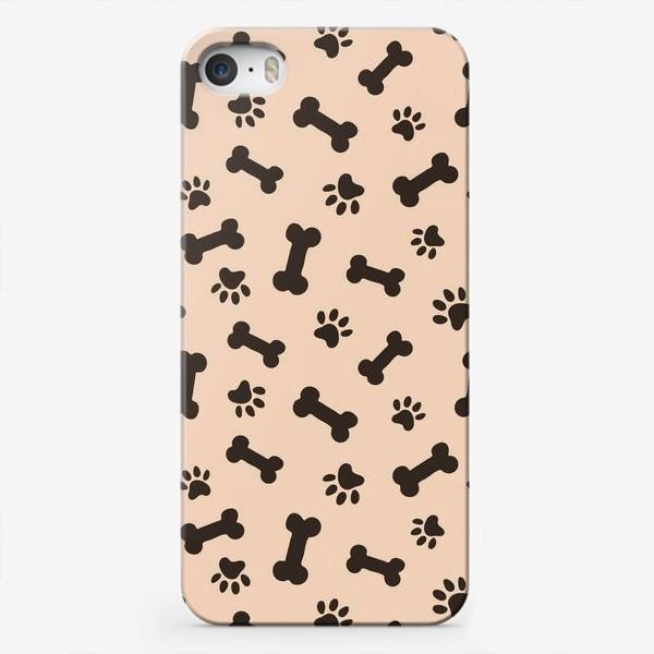Чехол iPhone «Отпечатки лапок и косточки, домашние животные»