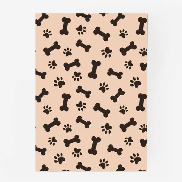 Постер «Отпечатки лапок и косточки, домашние животные»