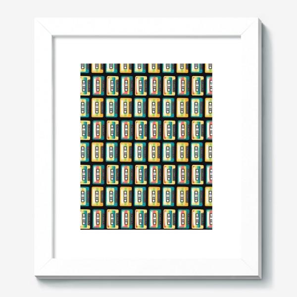 Картина «Ретро кассеты на черном фоне»