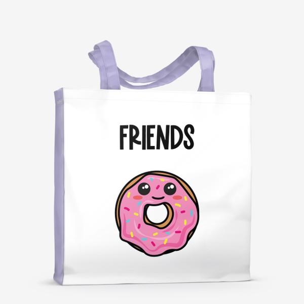 Сумка-шоппер «Кофе и пончик. Парные принты»