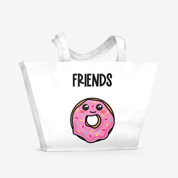 Пляжная сумка «Кофе и пончик. Парные принты»