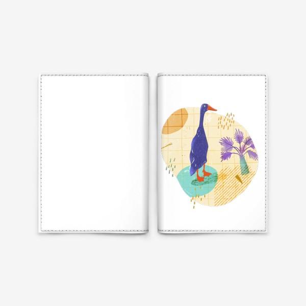 Обложка для паспорта «Гусь на абстрактном летнем фоне.»