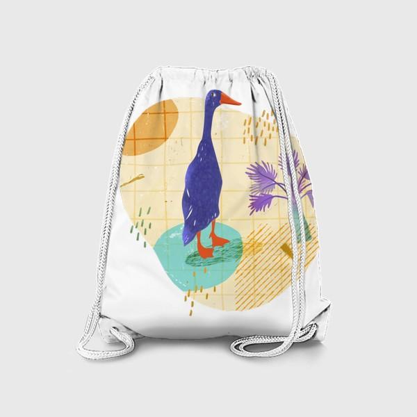 Рюкзак «Гусь на абстрактном летнем фоне.»