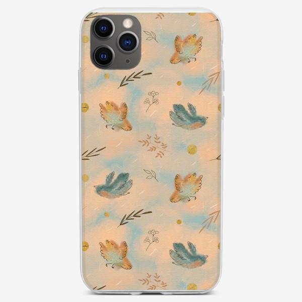 Чехол iPhone «Птицы. Паттерн с текстурой.»