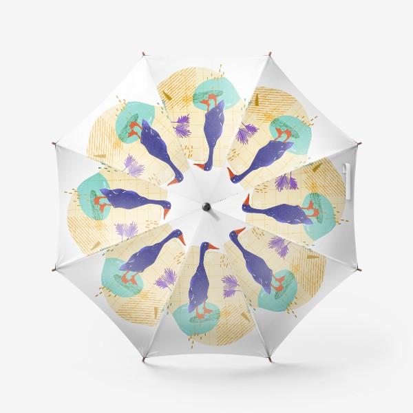 Зонт «Гусь на абстрактном летнем фоне.»