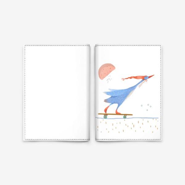 Обложка для паспорта «Гусь в красном колпаке едет на скейте»