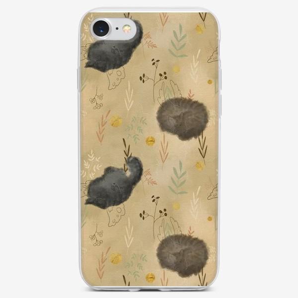 Чехол iPhone «Спящие котики. Растения. Паттерн с текстурой.»