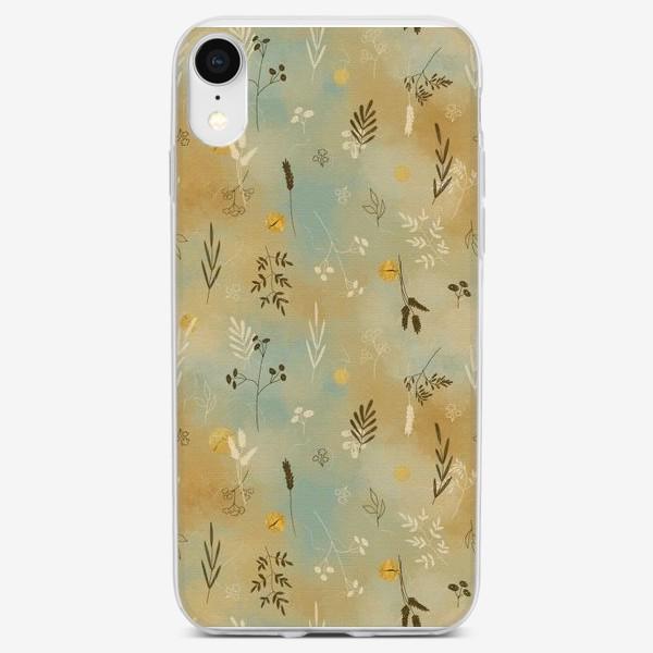 Чехол iPhone «Растения. Веточки. Золотые элементы. »