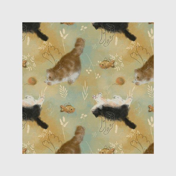 Шторы «Играющие котики. Котики с рыбками.»