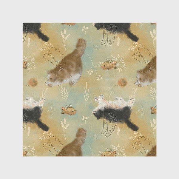 Скатерть «Играющие котики. Котики с рыбками.»
