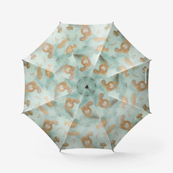 Зонт «Котики и рыбки. Паттерн с текстурой.»