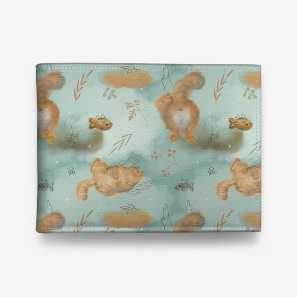 Кошелек «Котики и рыбки. Паттерн с текстурой.»