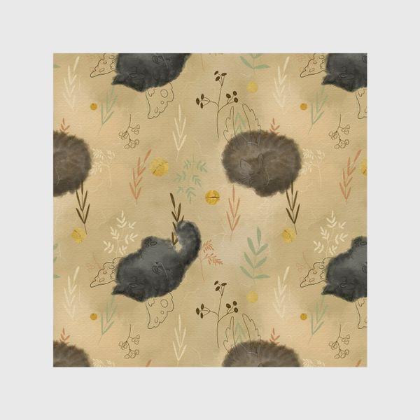 Шторы «Спящие котики. Растения. Паттерн с текстурой.»