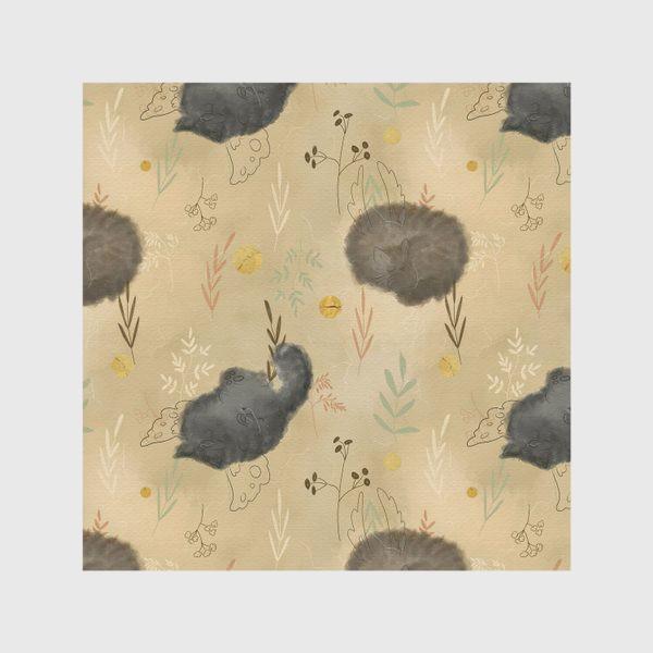 Скатерть «Спящие котики. Растения. Паттерн с текстурой.»