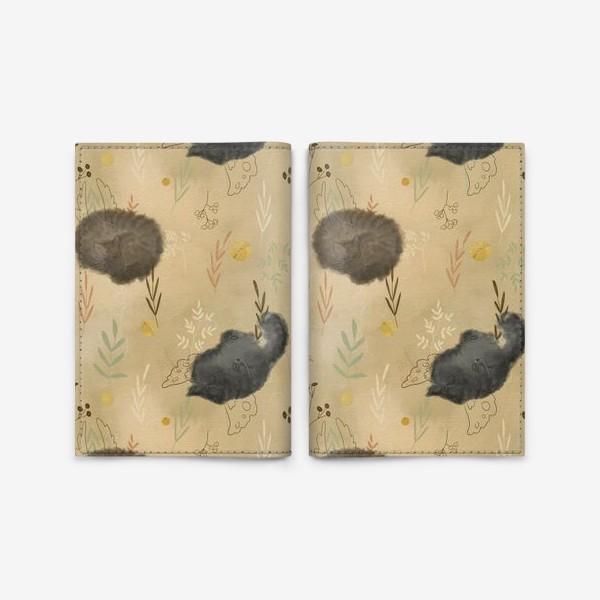 Обложка для паспорта «Спящие котики. Растения. Паттерн с текстурой.»
