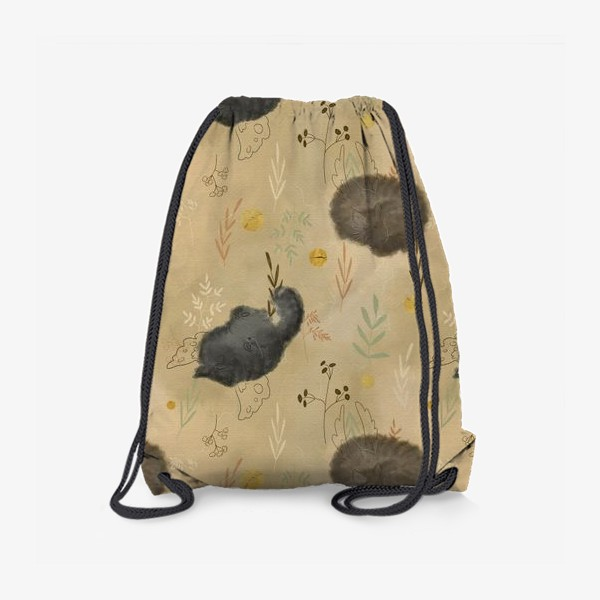 Рюкзак «Спящие котики. Растения. Паттерн с текстурой.»