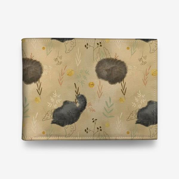 Кошелек «Спящие котики. Растения. Паттерн с текстурой.»
